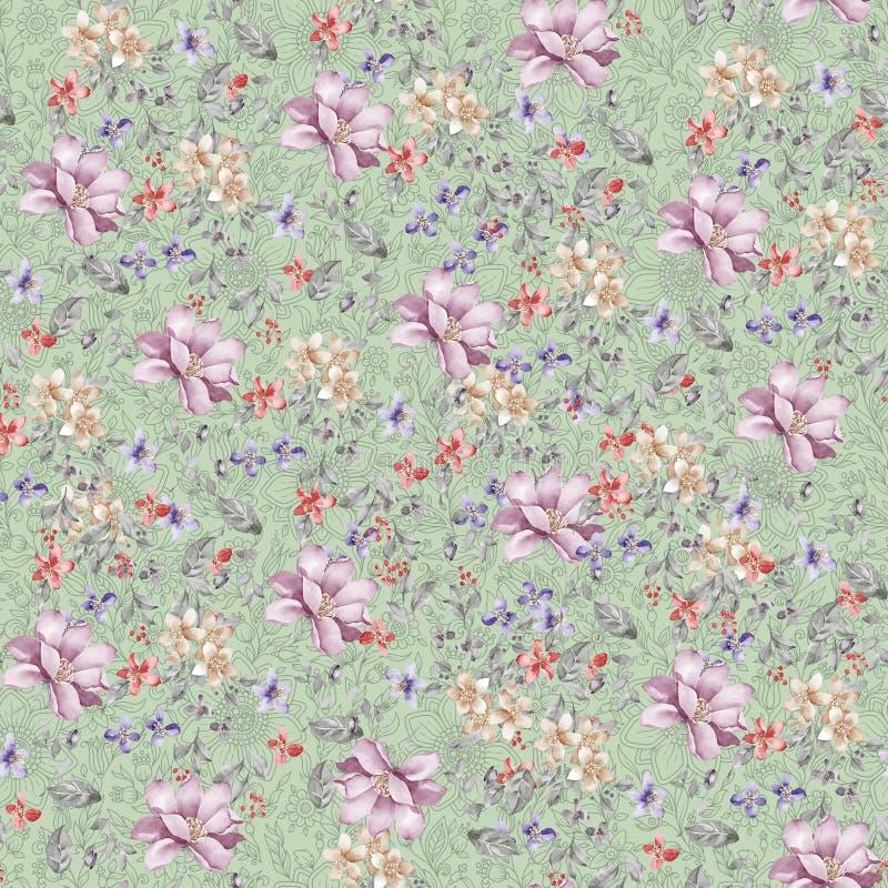 Digital print flower pattern design stock images