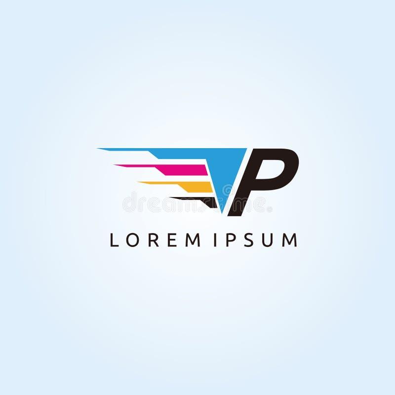 Digital Print Technology P CMYK Letter Logo. Modern Media design logo with Letter inside vector illustration