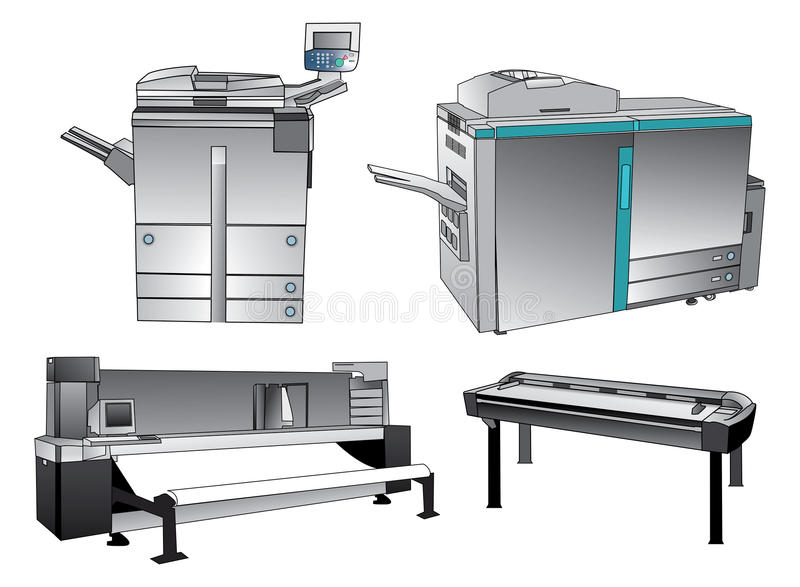 Digital Printing devices. Set in vector stock illustration