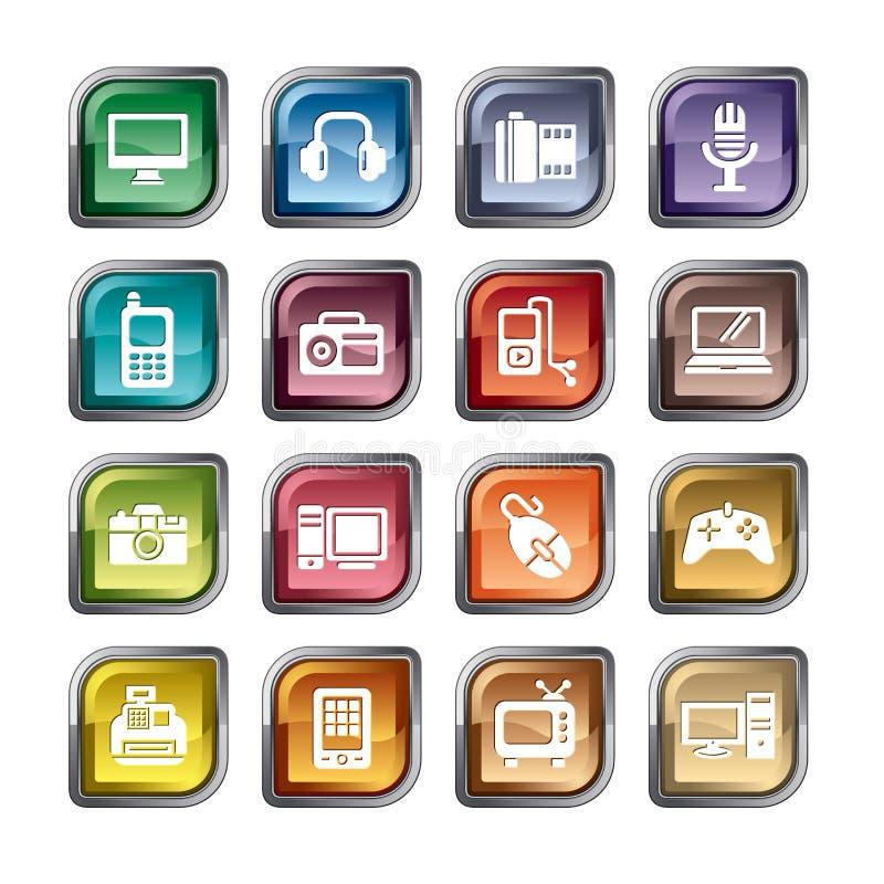 Digital produktsymboler royaltyfri illustrationer