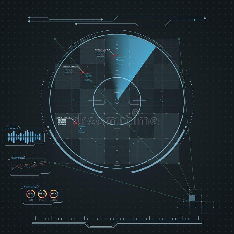 Digital radar screen. Futuristic HUD with datailed panels. stock illustration