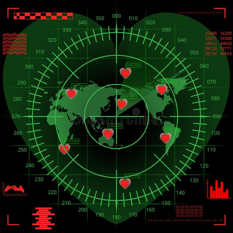 Digital radar screen of heart shape with world map, targets and futuristic vector illustration
