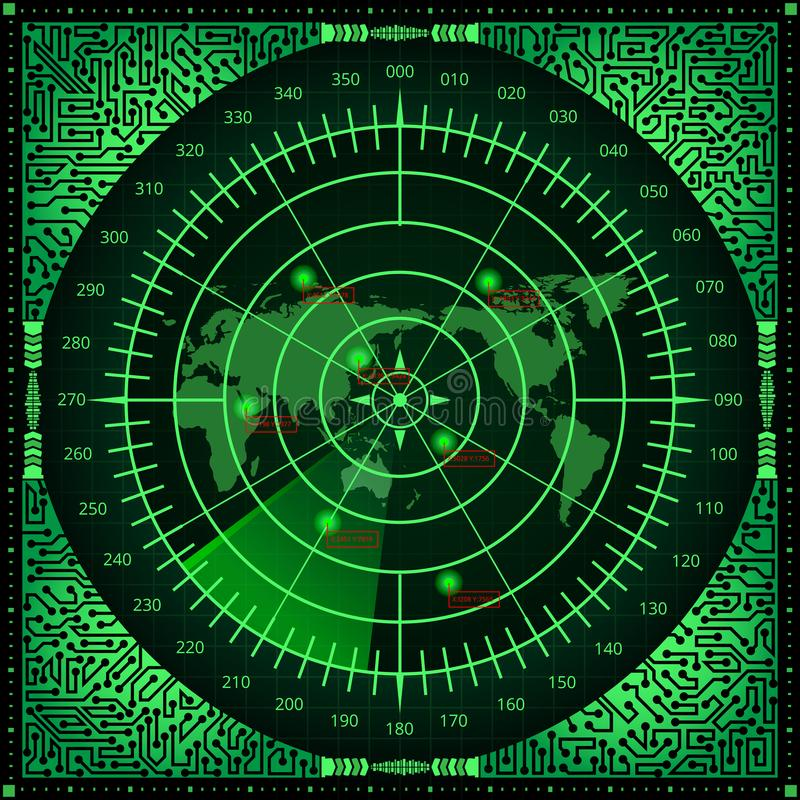 Digital radar screen with world map, targets and circuit board elements of green shades on dark background vector illustration