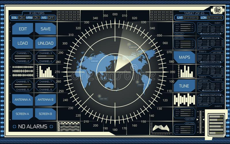 Digital radar screen with world map, targets and futuristic user interface of blue and beige shades on dark background. Abstract digital radar screen with world royalty free illustration