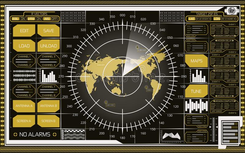 Digital radar screen with world map, targets and futuristic user interface of white and yellow shades stock illustration