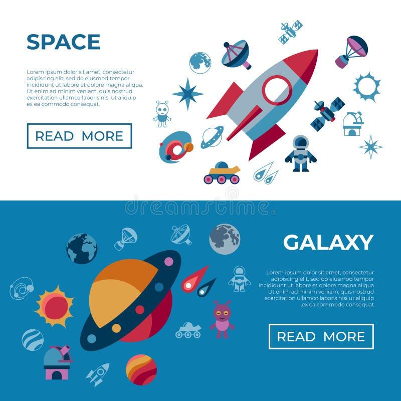 Digital-Raumgalaxie- und -universumikonen stock abbildung
