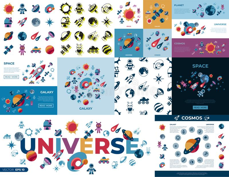 Digital-Raumgalaxie- und -universumikonen lizenzfreie abbildung