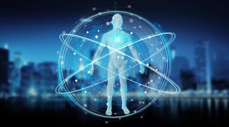 Digital x-ray human body scan background interface 3D rendering. Digital x-ray human body scan interface on blue background 3D rendering stock illustration