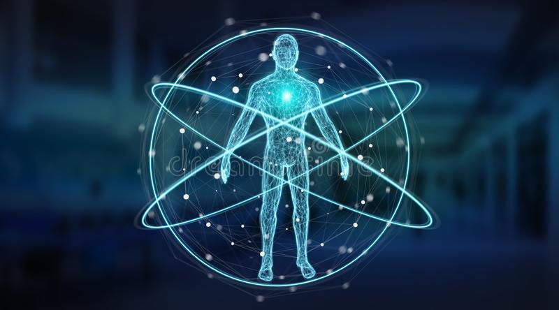Digital x-ray human body scan background interface 3D rendering. Digital x-ray human body scan interface on blue background 3D rendering stock illustration