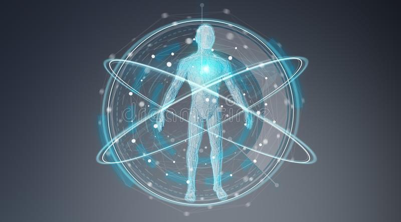 Digital x-ray human body scan background interface 3D rendering. Digital x-ray human body scan interface on blue background 3D rendering vector illustration