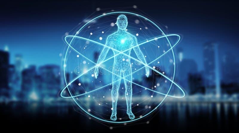 Digital x-ray human body scan background interface 3D rendering. Digital x-ray human body scan interface on blue background 3D rendering vector illustration