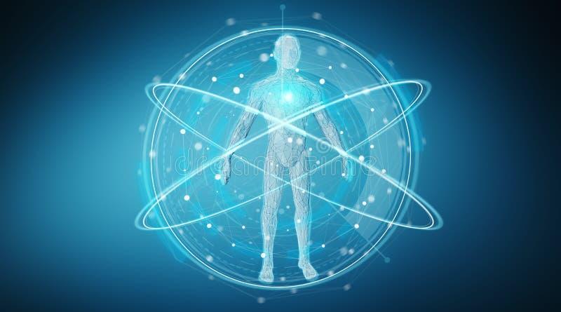Digital x-ray human body scan background interface 3D rendering. Digital x-ray human body scan interface on blue background 3D rendering royalty free illustration