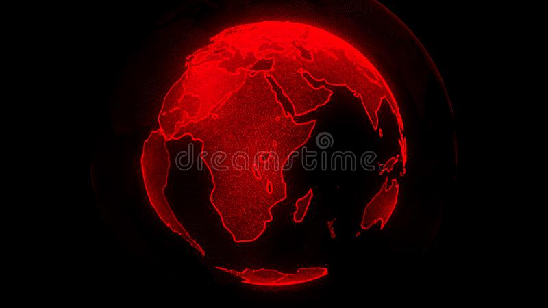 Digital red planet of Earth. Globe with shining continents. 3D illustration with digital Earth and particles royalty free illustration