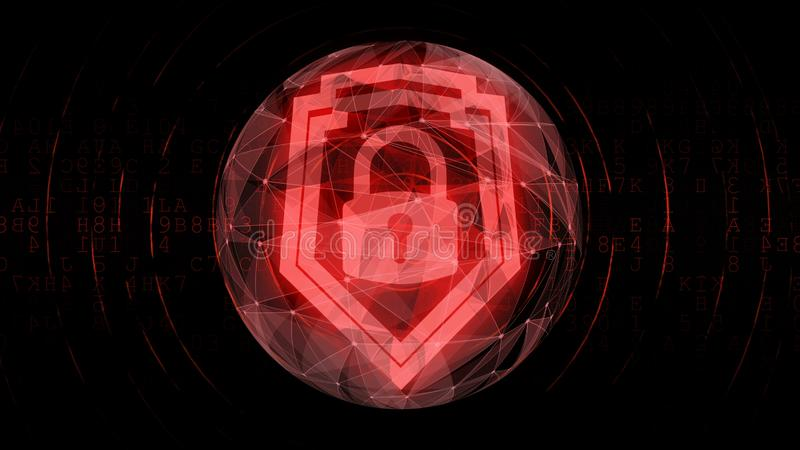 Digital red security padlock symbol for protected cyphered encrypted information. Stock photo royalty free illustration