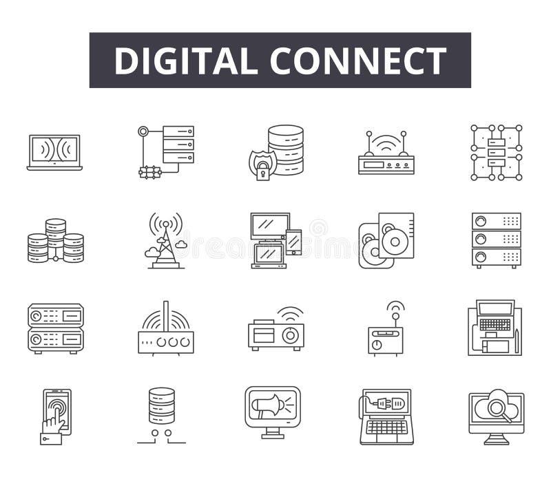 Digital relient la ligne icônes pour le Web et la conception mobile Signes Editable de course Digital relient le concept d'ensemb illustration libre de droits
