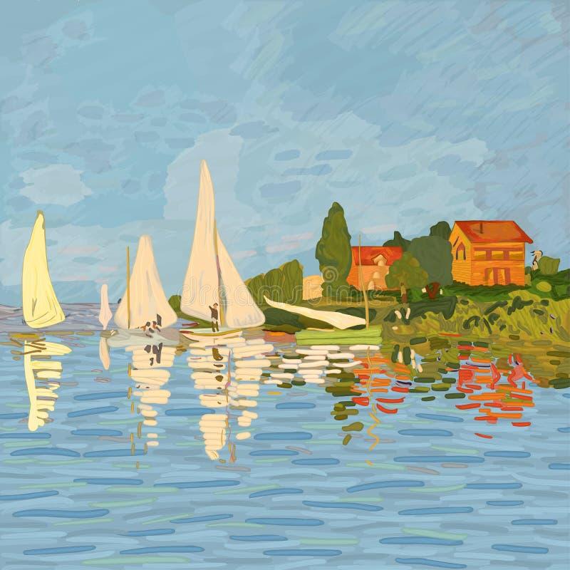 Digital reproduktion regatta av för målningen 'i Argenteuil royaltyfri illustrationer
