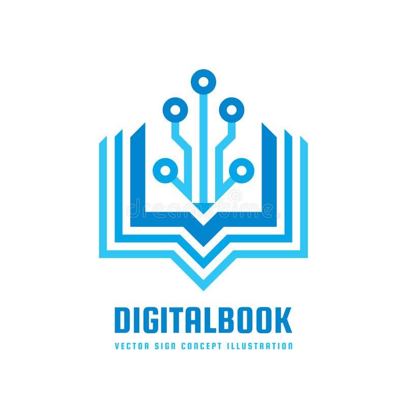 Digital rezerwuje - wektorową loga szablonu pojęcia ilustrację Nowej edukaci kreatywnie znak Nowożytny szkolny abstrakcjonistyczn ilustracji