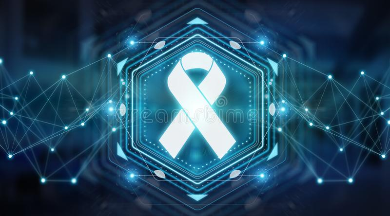 Digital ribbon cancer interface 3D rendering vector illustration