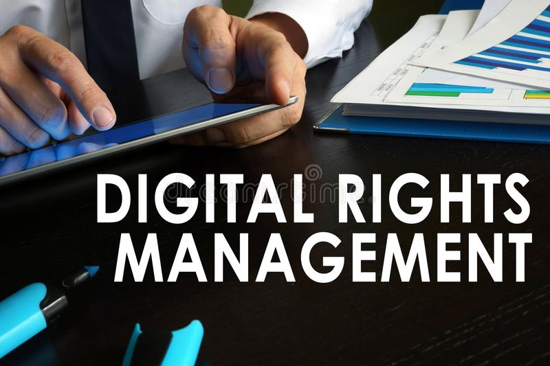 Digital rights management concept. stock photos