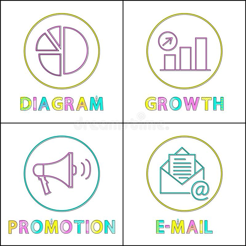 Digital Round Linear Icons Templates for Web Site. Visual diagram, growth chart, promotion function and email service isolated vector illustrations royalty free illustration