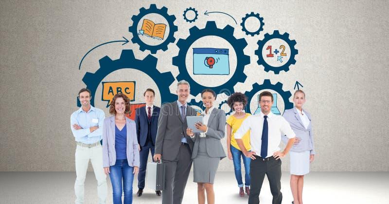 Digital rullar den sammansatta bilden av affärsfolk som står mot kuggen royaltyfri illustrationer