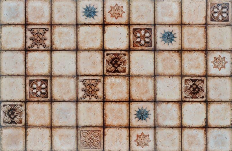 Digital-rustikaler Mosaikfliesehintergrund. lizenzfreie stockbilder