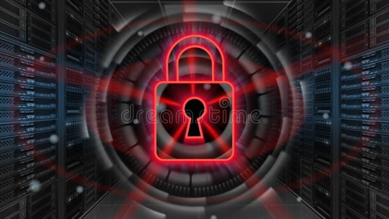 Digital säkerhetshologram med hänglåset på serverrum - Cybersäkerhet eller nätverksskydd - tolkning 3D royaltyfri illustrationer