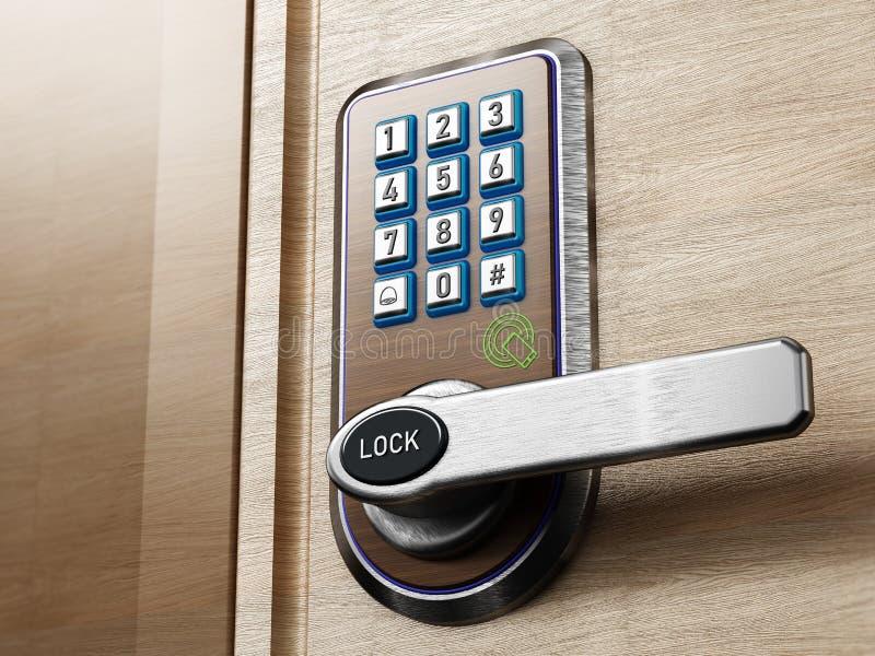 Digital säkerhetstangentbord och knopp på dörr illustration 3d vektor illustrationer