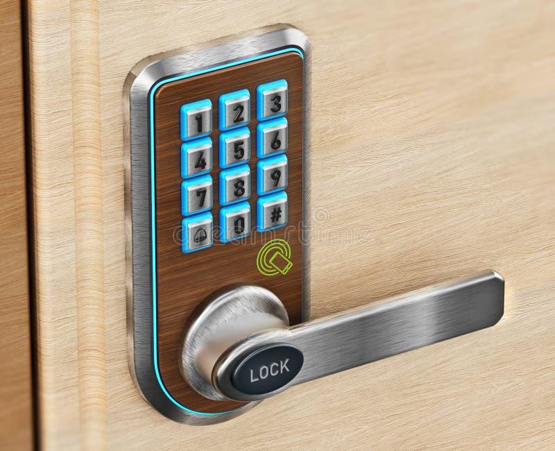 Digital säkerhetstangentbord och knopp på dörr illustration 3d stock illustrationer