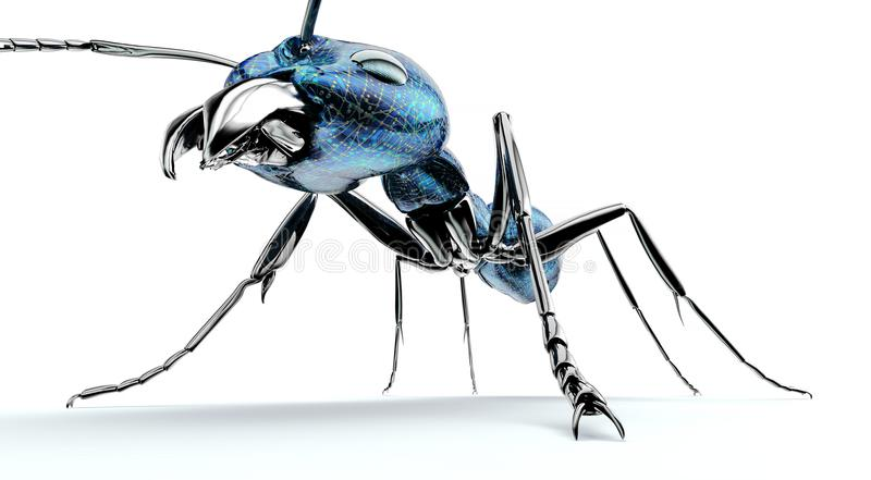 Digital safety concept electronic computer bug isolated. 3D illustration vector illustration