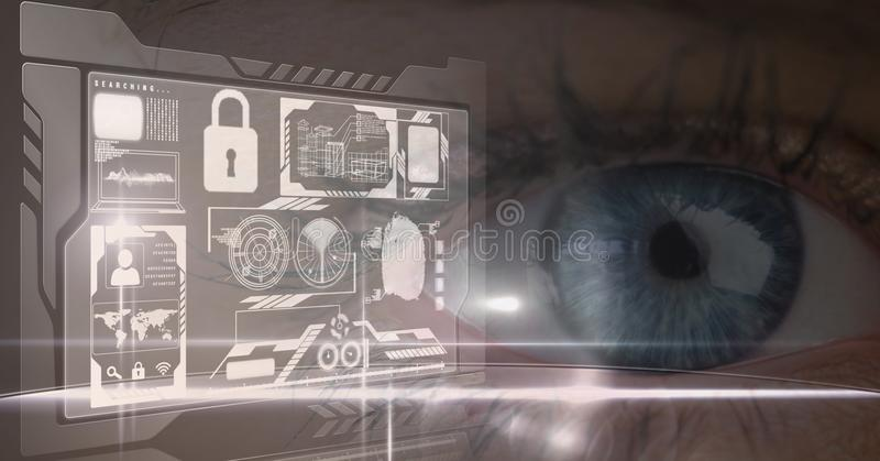Digital sammansatt bild av ögat med symboler arkivfoton