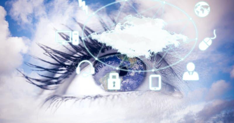 Digital sammansatt bild av ögat med symboler i himmel royaltyfri fotografi