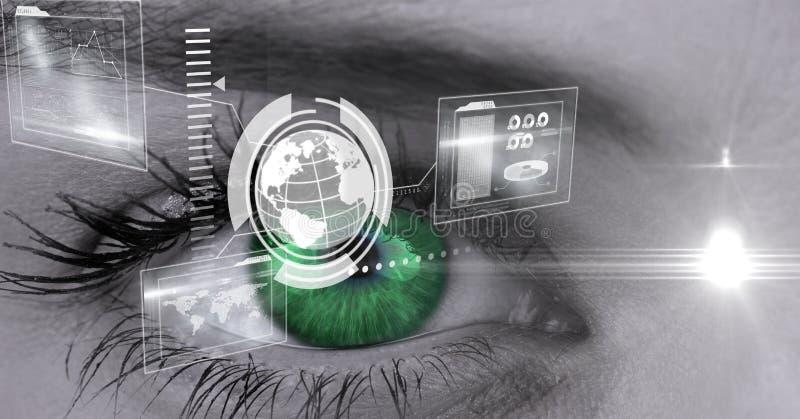 Digital sammansatt bild av ögonmanöverenheten arkivfoto