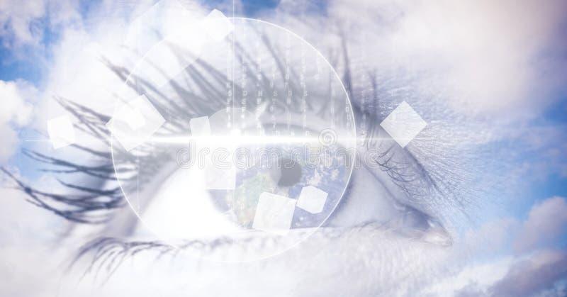 Digital sammansatt bild av ögonmanöverenheten med moln royaltyfri illustrationer