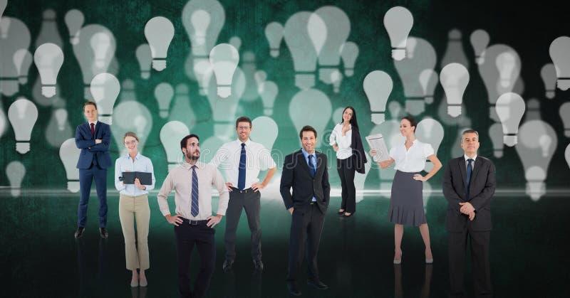Digital sammansatt bild av affärsfolk över bakgrund för ljus kula vektor illustrationer