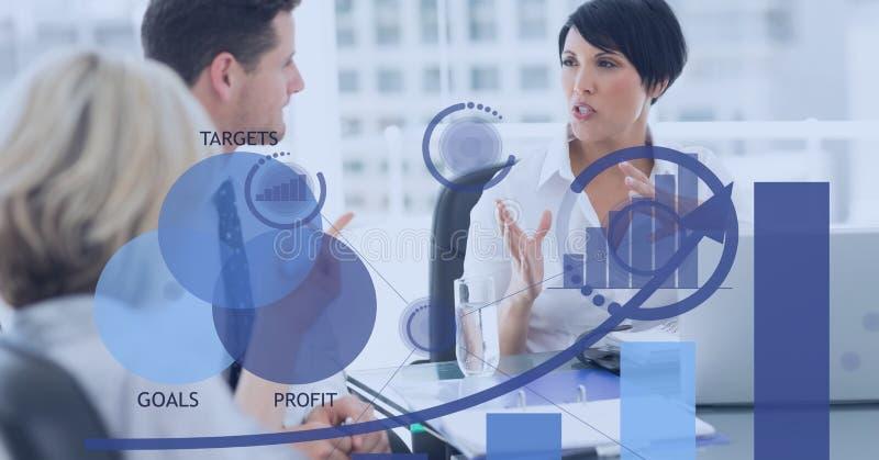 Digital sammansatt bild av affärsfolk i möte med diagram i förgrund stock illustrationer
