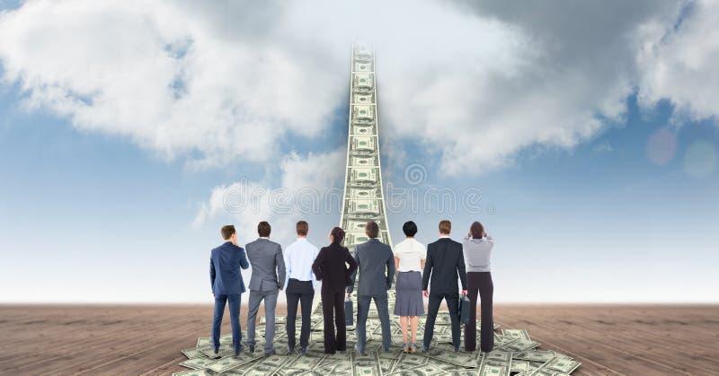 Digital sammansatt bild av affärsfolk som ser pengargångbanan som leder in mot himmel stock illustrationer