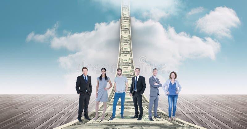 Digital sammansatt bild av affärsfolk som står på pengar stock illustrationer