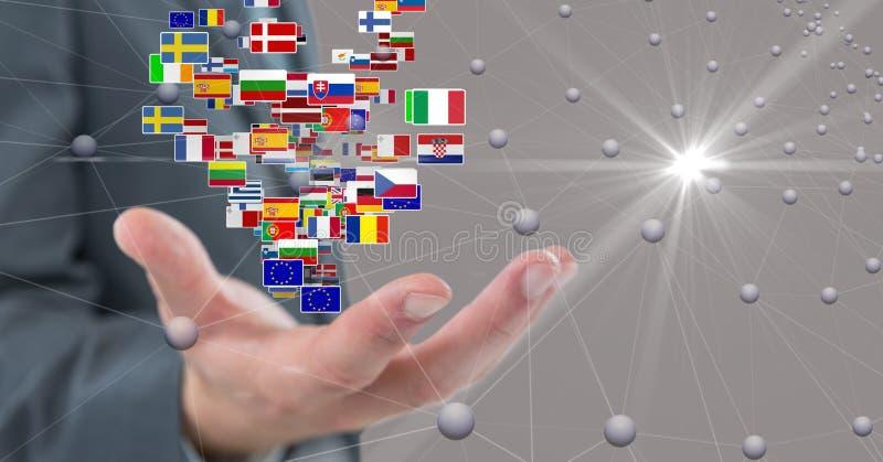 Digital sammansatt bild av affärshanden med flaggor och förbindande prickar royaltyfri fotografi