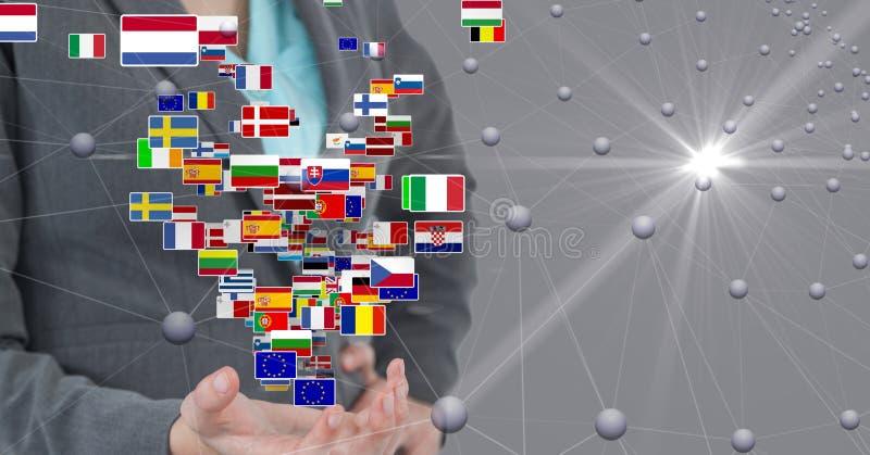 Digital sammansatt bild av affärskvinnaanseendet med flaggor och förbindande prickar royaltyfria foton