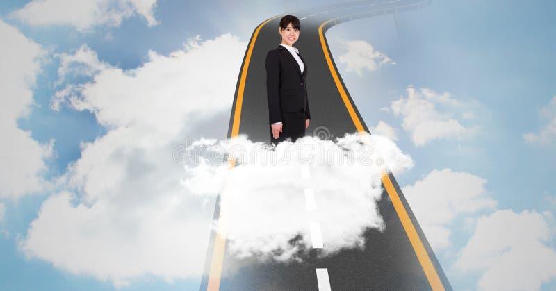 Digital sammansatt bild av affärskvinnaanseendet på huvudvägen i himmel stock illustrationer