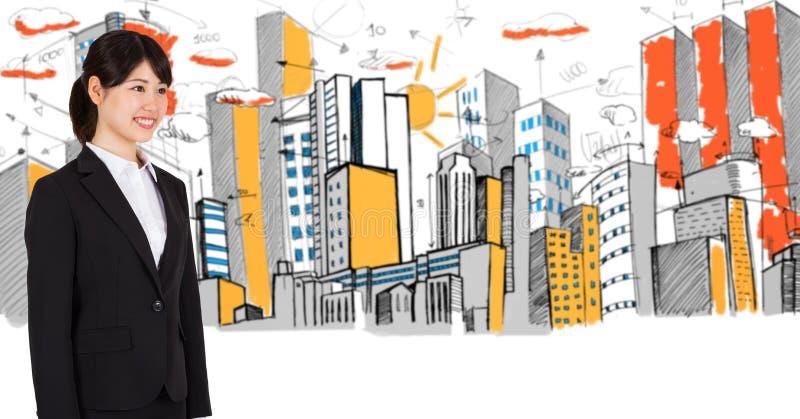 Digital sammansatt bild av affärskvinnan och byggnader arkivfoto