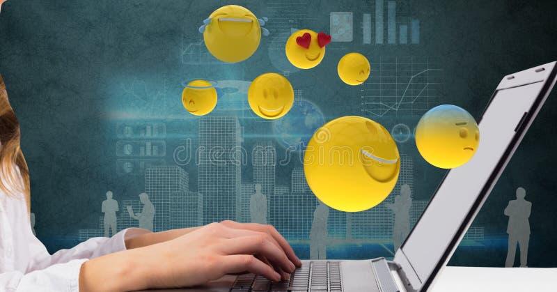 Digital sammansatt bild av affärskvinnan som använder bärbara datorn medan emojis som flyger över den stock illustrationer