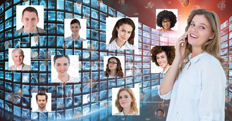 Digital sammansatt bild av affärskvinnan som använder mobiltelefonen vid stående stock illustrationer