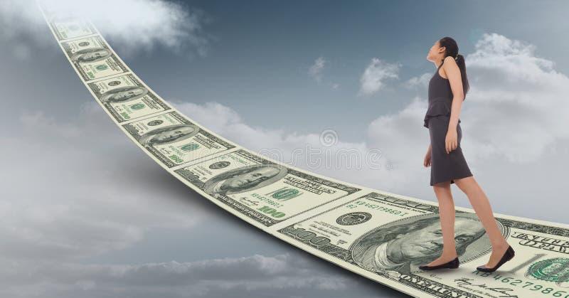 Digital sammansatt bild av affärskvinnan som går på pengargångbanan som leder in mot himmel vektor illustrationer