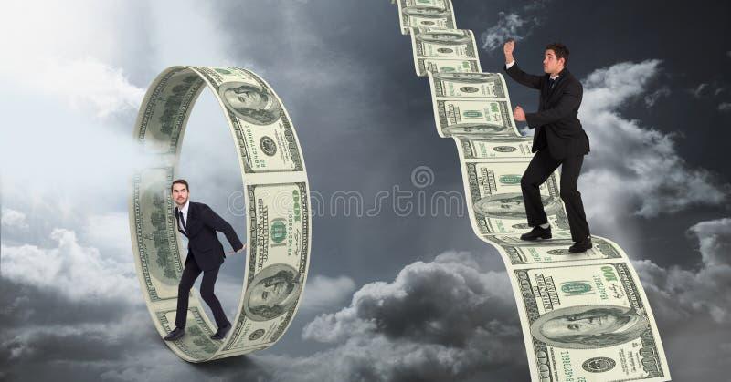 Digital sammansatt bild av affärsmän som står på pengar royaltyfri illustrationer