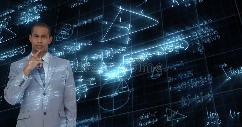 Digital sammansatt bild av affärsmannen över matematiklikställandebakgrund royaltyfria bilder