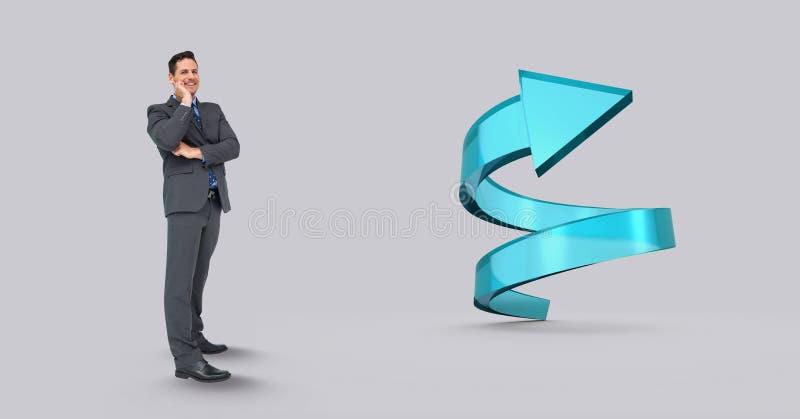 Digital sammansatt bild av affärsmannen med den spiral pilen royaltyfri bild