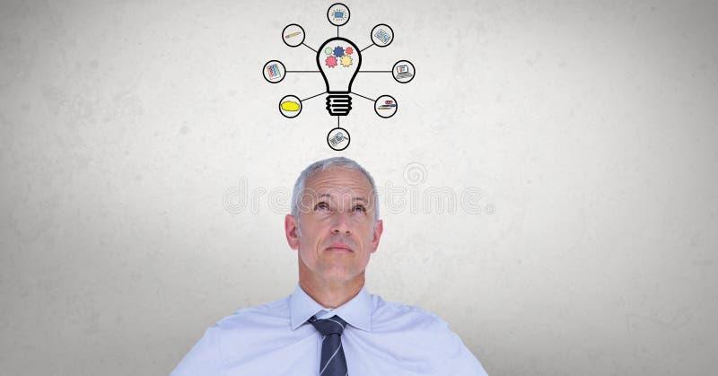 Digital sammansatt bild av affärsmannen med diagram för ljus kula royaltyfri illustrationer