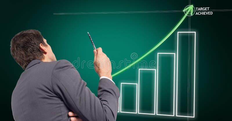 Digital sammansatt bild av affärsmannen med grafen för affärsplan fotografering för bildbyråer